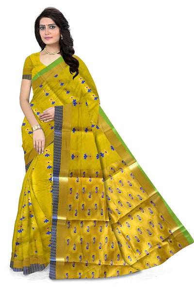 Yellow and Golden Cotton Silk Saree Front View