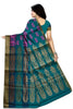 Sea Green & Pink Full Zari Cotton Silk Saree Back View
