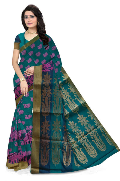 Sea Green & Pink Full Zari Cotton Silk Saree Front View