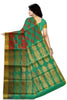 Green and Pink Cotton Silk Saree Back View