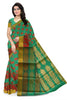 Green and Pink Cotton Silk Saree Front View