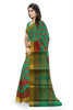 Green and Pink Cotton Silk Saree Side View