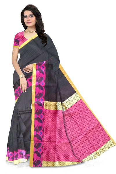 Black and Pink Embossed Cotton Silk Saree