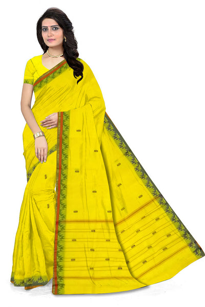 Fasnic.com Yellow Chettinad Cotton Saree. Unstitched blouse attached