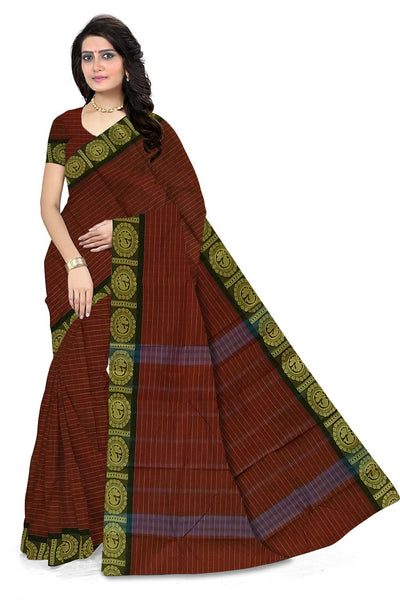 Fasnic.com Dark Red Chettinad Cotton Saree. Unstitched blouse attached