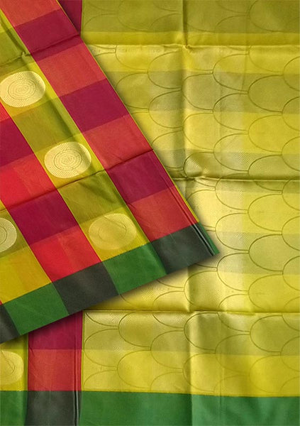 Fasnic.com Red and Green Yellow Checked Cotton Silk Saree. Unstitched blouse attached