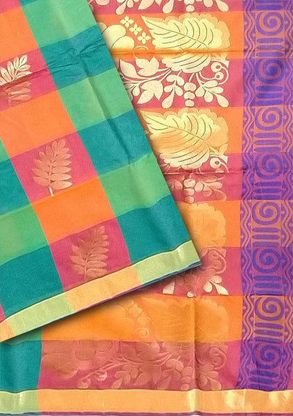 Fasnic.com Multicolor Checked Cotton Silk Saree. Unstitched blouse attached