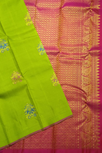 Parrot Green and Red Kanjeevaram Bridal Collection