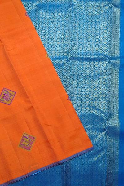 Orange Red and Royal Blue Kanjeevaram Bridal Collection