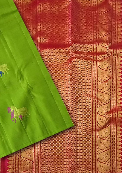 Fasnic.com Green and Red Kanjeevaram Bridal Collection. Unstitched blouse attached