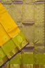 Kanchipuram Silk Saree - Yellow & Olive Green - Floral Design