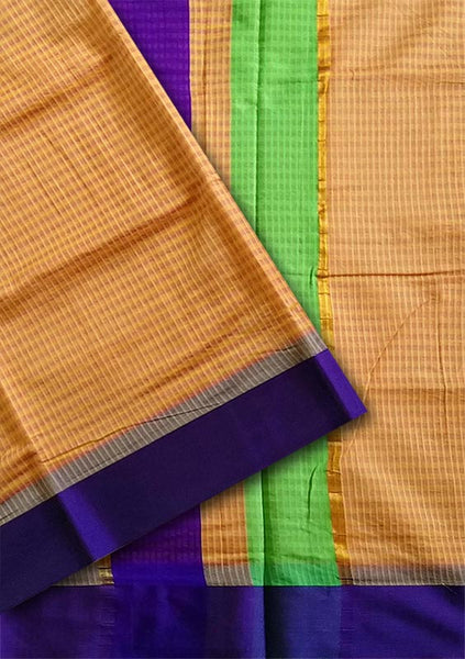 Fasnic.com Orange Checked Cotton Silk Saree. Unstitched blouse attached
