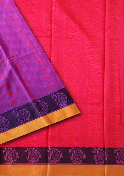 Fasnic.com Purple and Red Cotton Silk Saree. Unstitched blouse attached