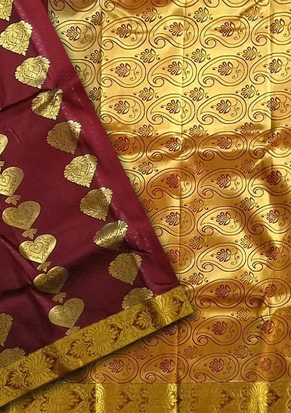 Fasnic.com Dark Maroon & Golden Art Silk Saree. Unstitched blouse attached