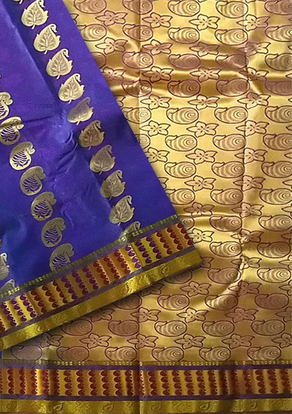 Fasnic.com Dark Blue Violet & Golden Art Silk Saree. Unstitched blouse attached