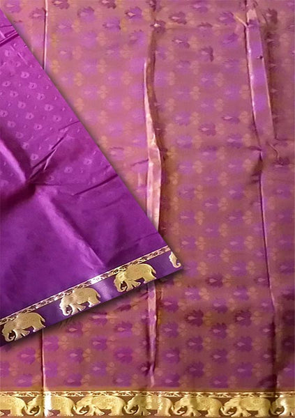 Fasnic.com Purple Golden Art Silk Saree. Unstitched blouse attached