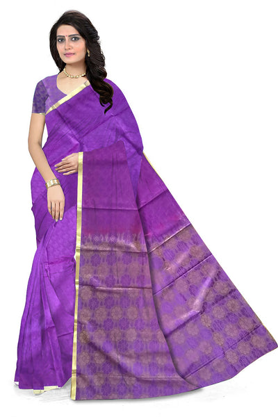Fascinating Purple Art Silk Saree front view