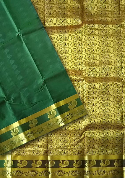 Dark Green & Golden Art Silk Saree