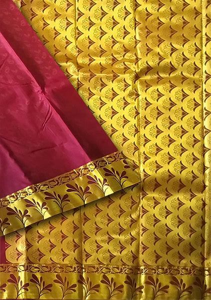 Dark Maroon & Golden Art Silk Saree