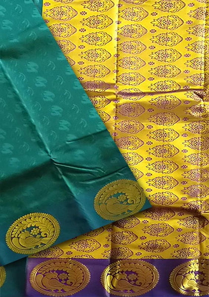 Fasnic.com Dark Sea Green & Golden Art Silk Saree. Unstitched blouse attached
