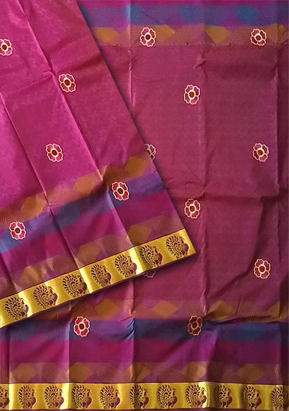 Purple Embroidery  Art Silk Saree
