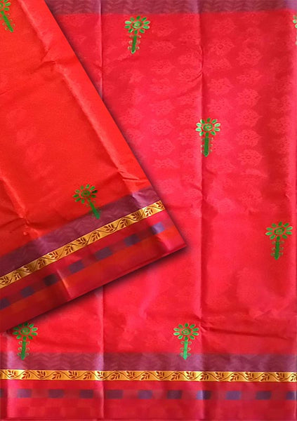 Pink Red Embroidery  Art Silk Saree