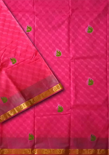 Pale Violet Red Embroidery  Art Silk Saree