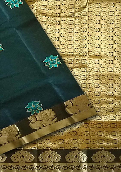 Fasnic.com Dark Teal Blue & Golden Art Silk Saree. Unstitched blouse attached