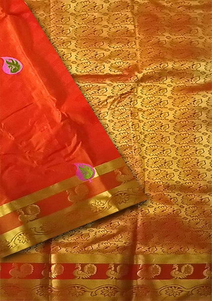 Fasnic.com Red & Golden Art Silk Saree. Unstitched blouse attached