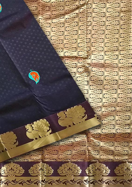 Fasnic.com Black & Golden Brown Art Silk Saree. Unstitched blouse attached