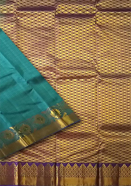 Fasnic.com Cyan & Golden Blue Art Silk Saree. Unstitched blouse attached