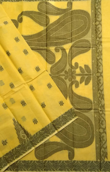 Fasnic.com Yellow Pure Cotton Saree. Unstitched blouse attached
