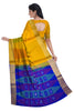 Pure Soft Silk Saree - Yellow  & Navy Blue - Temple Design