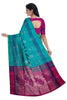 Pure Soft Silk Saree - Deep Sky Blue & Magenta   - Mango & Peacock Design