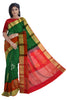 Pure Soft Silk Saree - Dark Green &  Cinnamon Red - Floral Design
