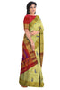 Pure Soft Silk Saree - Half white & Dark Red- Mango Design