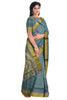 Pure Soft Silk Saree -Dark Grey & Golden - Floral Design