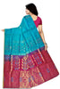Soft Silk Saree Cyan & Violet color with Floral Design Back View Fasnic