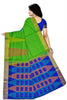 Jute Soft Silk Saree Green & Blue color with Temple & Box Design Back View Fasnic