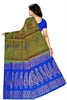 Soft Silk Saree Olive Green & Blue color with Floral Design Back View from Fasnic
