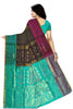 Soft Silk Saree Dark Brown & Cyan color with Floral Design Back View Fasnic