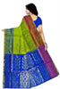 Soft Silk Saree Green Yellow & Blue color with Floral Design Back View Fasnic