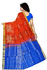 Soft Silk Saree Orange & Blue color with Animal & Self Design Back View Fasnic