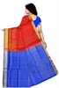 Soft Silk Saree Red & Blue Floral color with Design Back View Fasnic