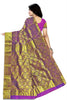 Back view of Fasnic's Golden kanjivaram silk saree with floral design. Unstitched blouse attached