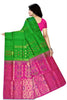 Soft Silk Saree Green & Pink color with Floral Design Back View Fasnic