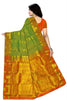 Back view of Fasnic's green and orange light wight silk saree with Floral design. Unstitched blouse attached