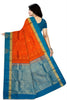 Fasnic.com Pure Soft Silk Saree - Dark Orange & Steel Blue - Peacock Design. Unstitched blouse attached