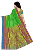 Back view of Fasnic's Green Light wight silk saree with Floral design. Unstitched blouse attached