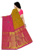 Back view of Fasnic's yellow and pink kanjivaram silk borderless saree with doll design. Unstitched blouse attached